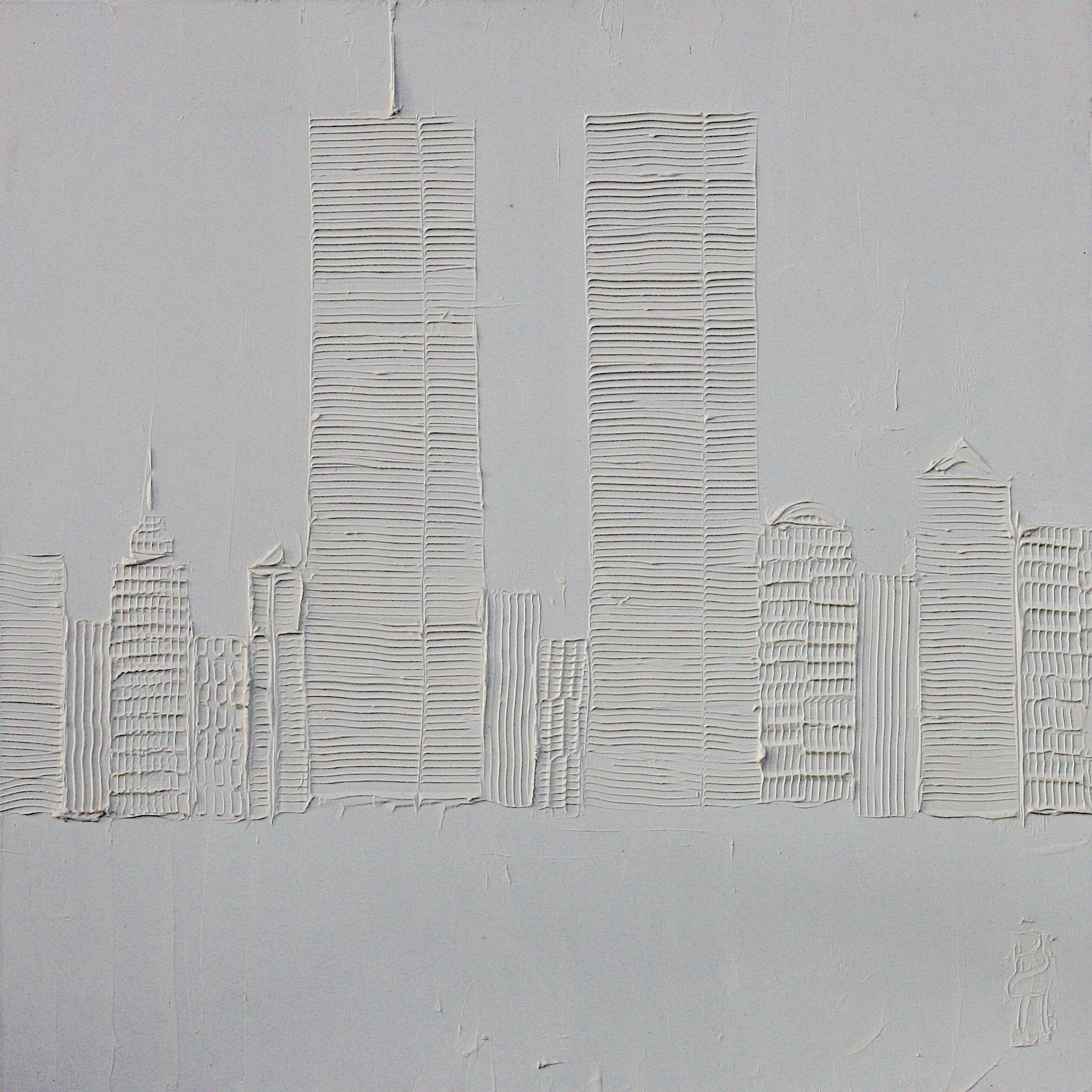 World Trade Center 1m X 1m Sculpted Titanium White Oil Paint On Canvas 2010