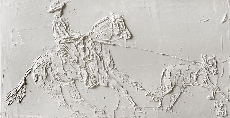 Cowboy 12in X 24in Huile Sculptee Sur Toile 2013