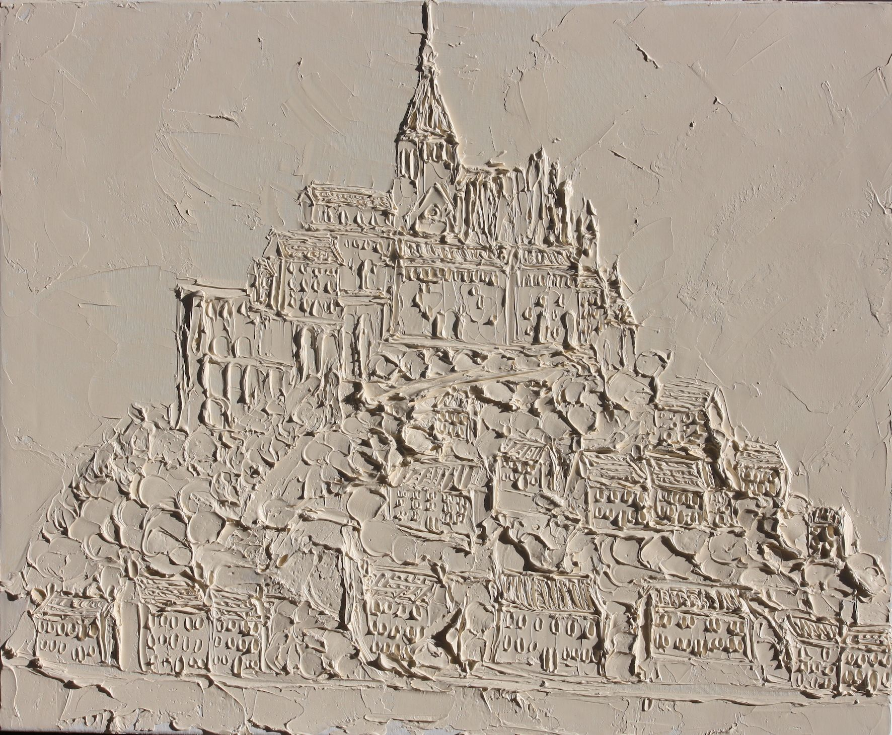 Mont Saint Michel 50cm X 70cm Sculpted Titanium White Oil Paint On Canvas 2017