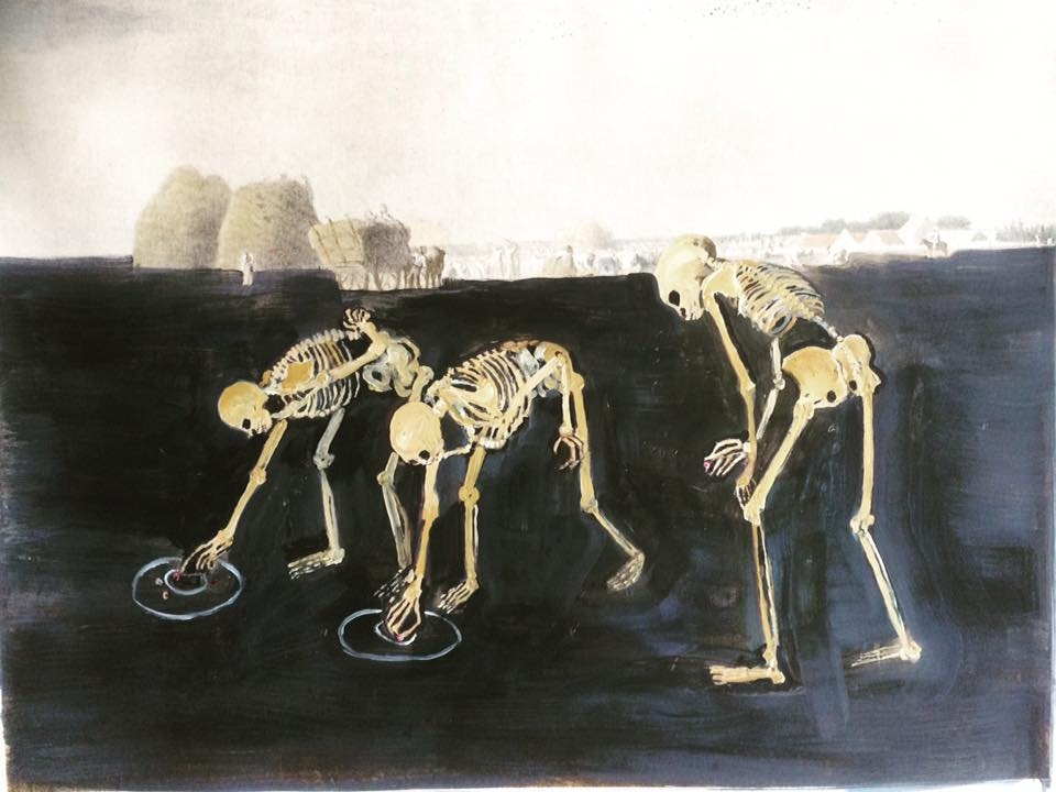 Marble Players Are Glaneuses 55cm X 65cm Oil On Lithograph 2018