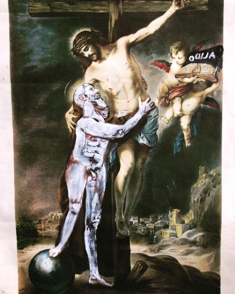 New Methods Of Speaking To Jesus Oil On Lithograph 24cm X 35cm 2018