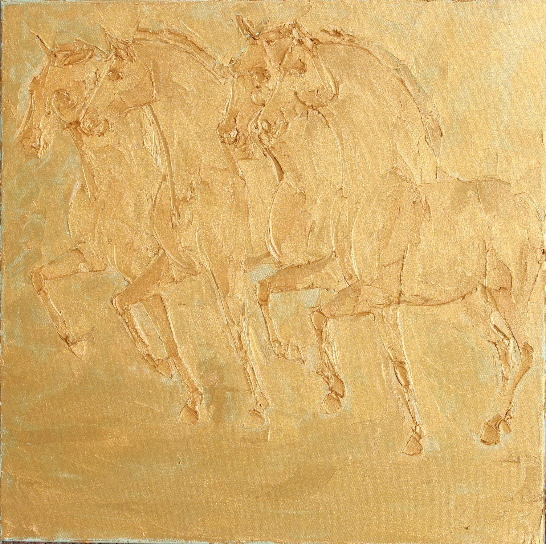 Saint Marks Horses 60cm X 60cm Sculpted Gold Oil Paint On Canvas 2018