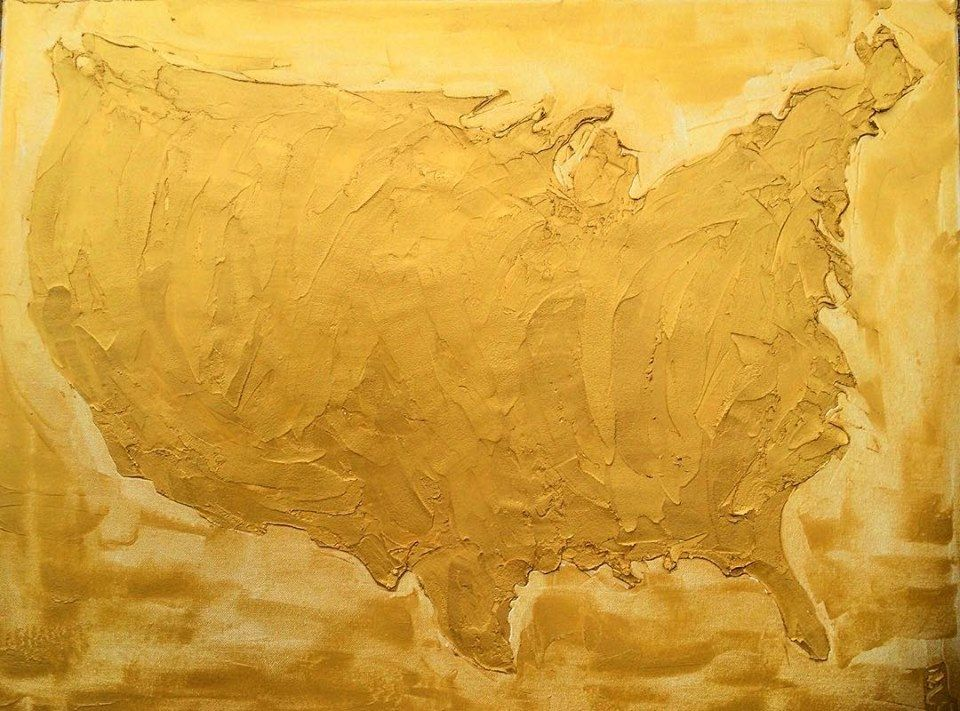 USA DADA 60cm X 80cm Sculpted Gold Oil Paint On Canvas 2018