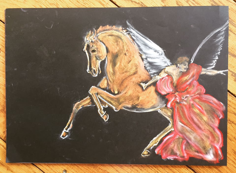 Angel And Horse Format A3 Oil Pastel On Paper 2018