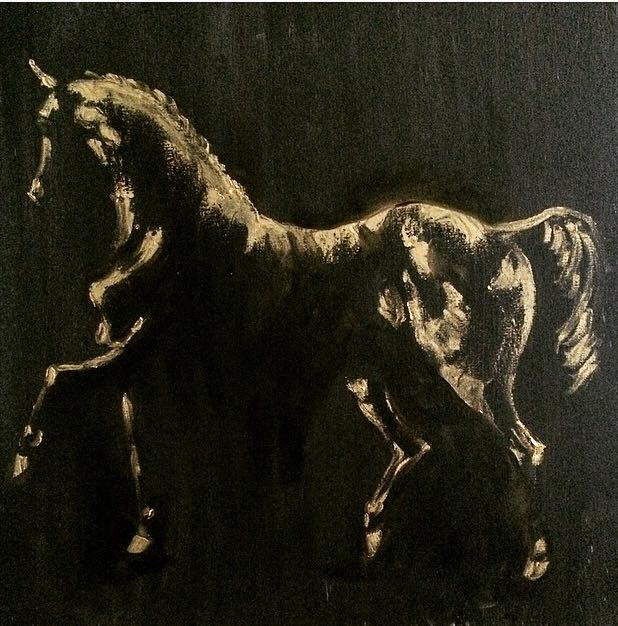 Etude Cheval Au Trot 50cm X 50cm Oil On Canvas 2018