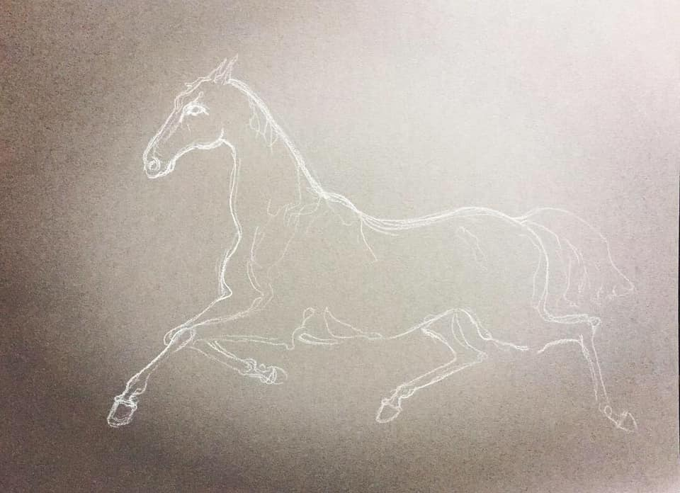 Etude Cheval Pastel Sec On Gray Paper Format A3 2018