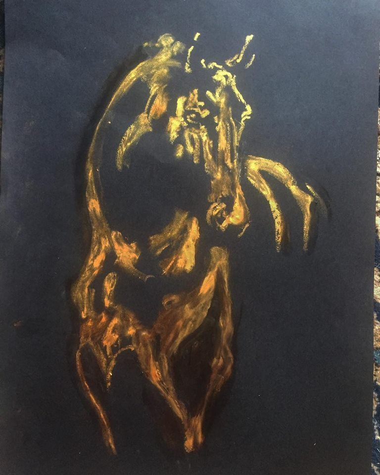 Gold Horse Oil Pastel On Paper Format A3 2019
