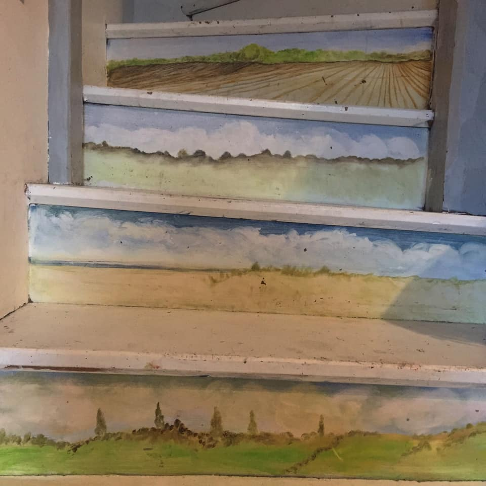 Landscape Paintings On Staircase Oil On Wood 2019