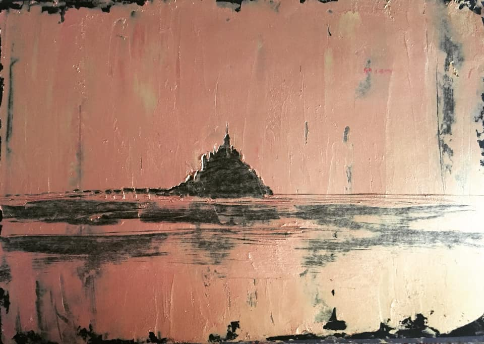 Le Mont St Michel Oil On Paper Format A3 2019