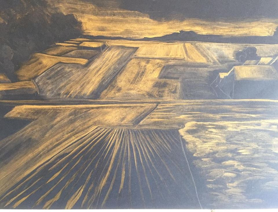 Paysage Agricole Format A3 Gold Oil Paint On Paper 2019