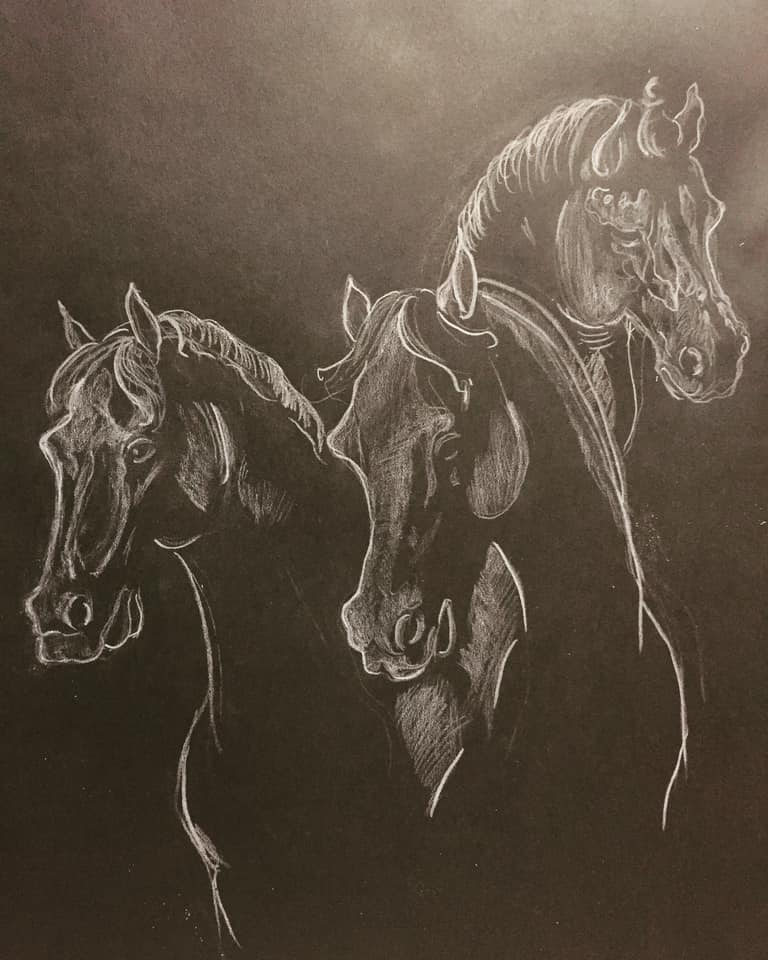 Trio Chevaux Format A3 Polychrome On Paper 2019